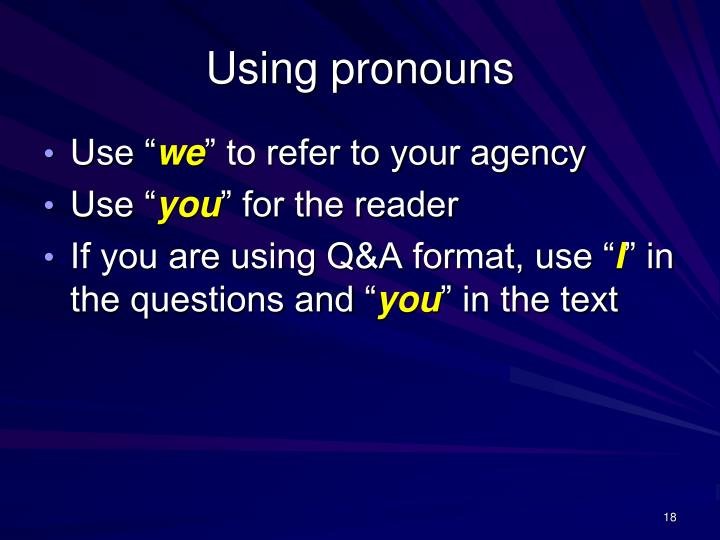 Using pronouns