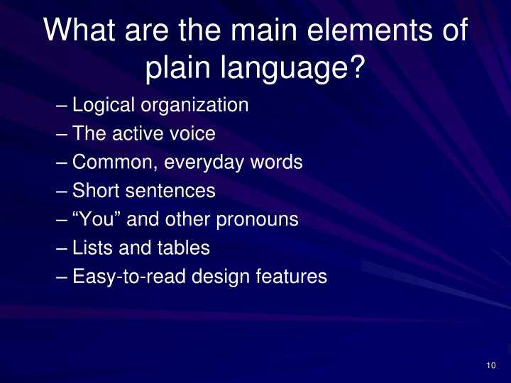 What are the main elements of plain language?