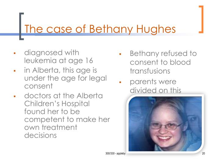 an analysis of the case of bethany hughes in canada Father sues jehovah's witnesses, hospital over teen's father sues jehovah's witnesses, hospital over teen's death bethany hughes died of leukemia two years.