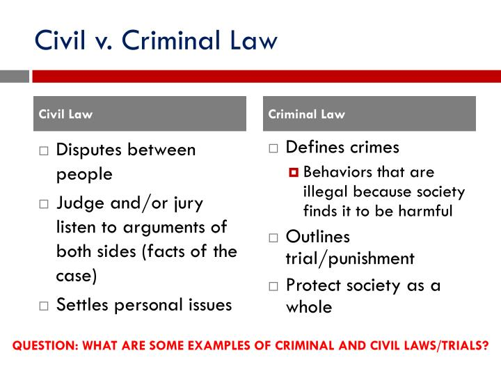 Civil v. Criminal Law
