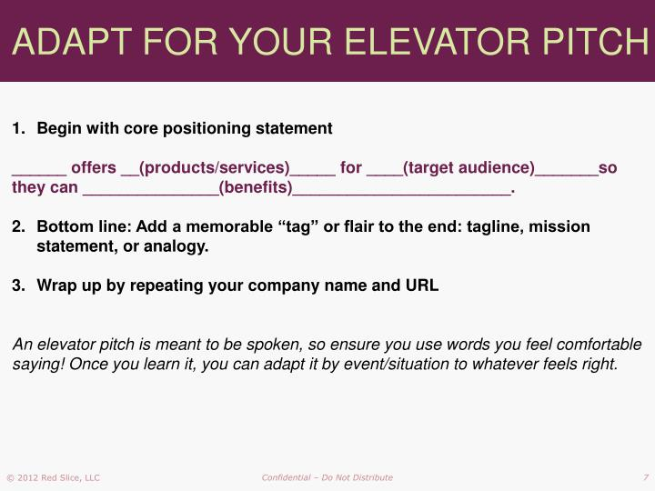 ADAPT FOR YOUR ELEVATOR PITCH