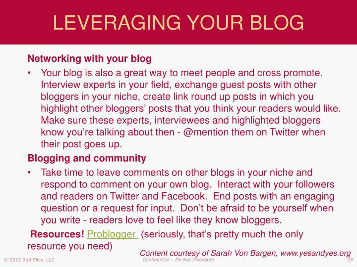 LEVERAGING YOUR BLOG