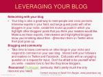 leveraging your blog