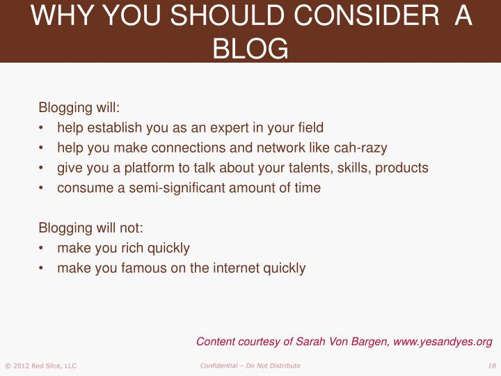 WHY YOU SHOULD CONSIDER  A BLOG