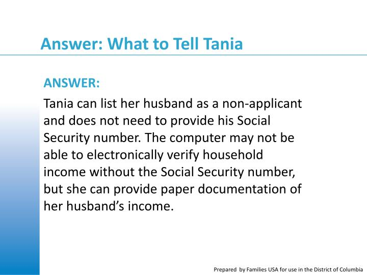 Answer: What to Tell Tania