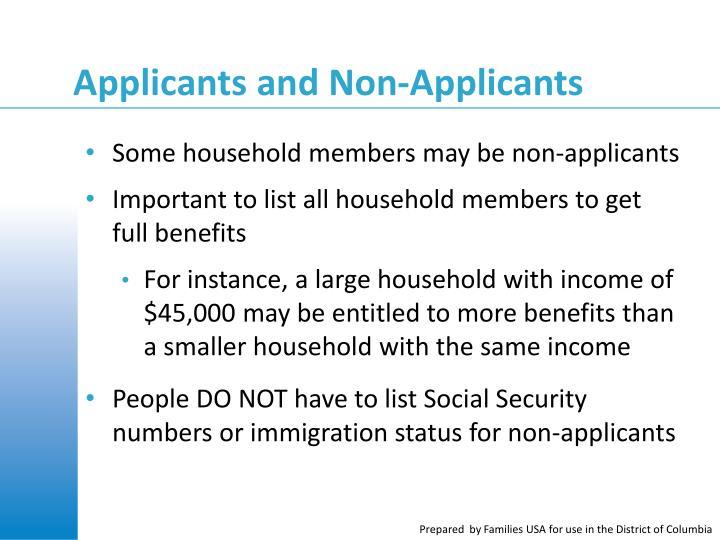 Applicants and Non-Applicants
