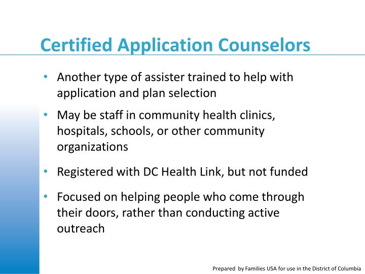 Certified Application Counselors
