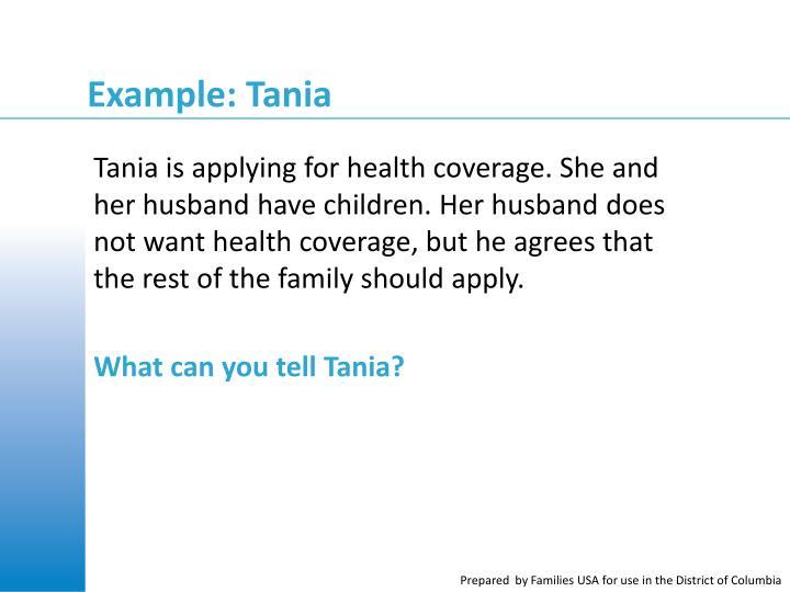 Example: Tania