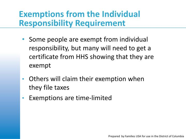 Exemptions from the Individual Responsibility Requirement