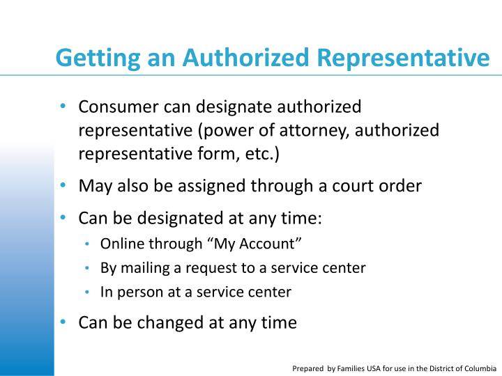 Getting an Authorized Representative