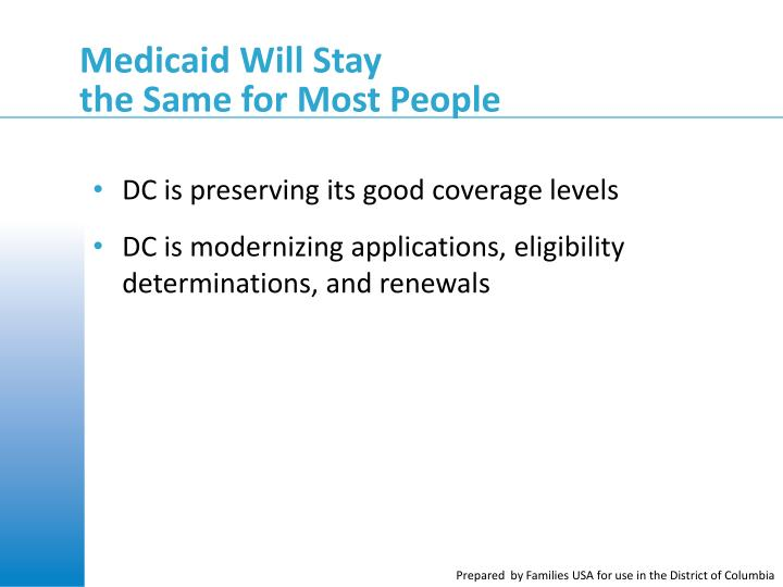 Medicaid Will Stay