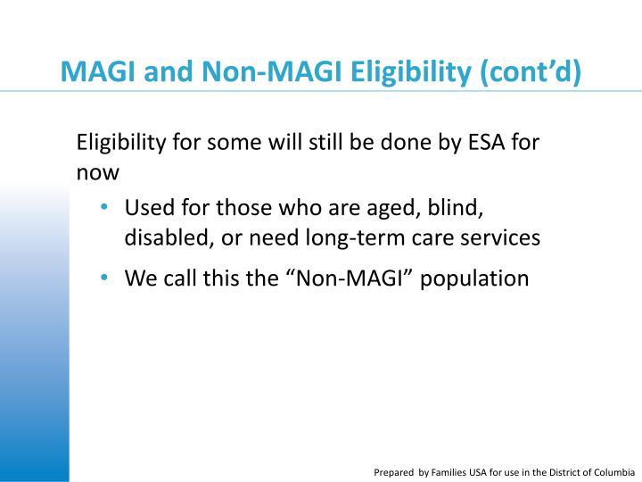 MAGI and Non-MAGI Eligibility (cont'd)