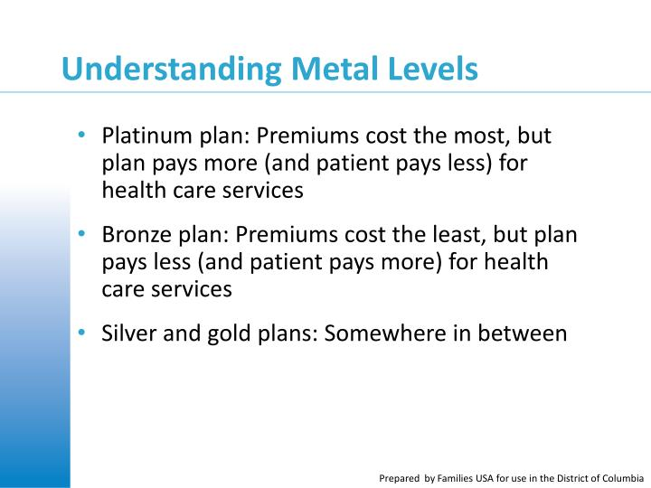 Platinum plan: Premiums cost the most, but plan pays more (and patient pays less) for health care services