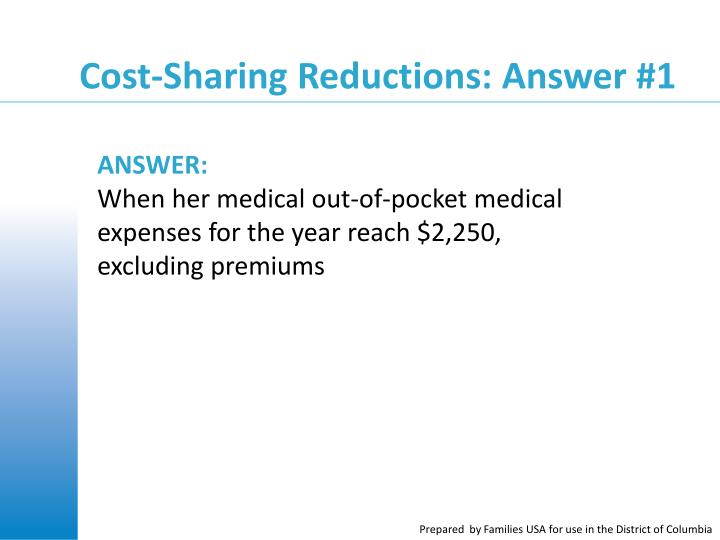 Cost-Sharing Reductions: Answer #1