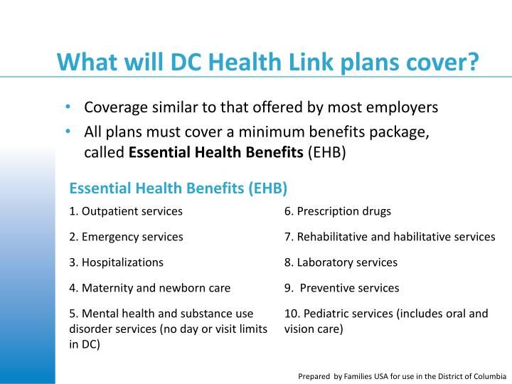 What will DC Health Link plans cover?