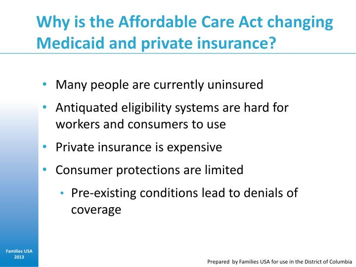 Why is the Affordable Care Act changing Medicaid and private insurance?