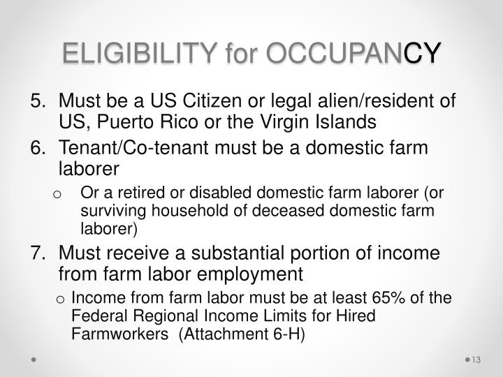 ELIGIBILITY for OCCUPAN