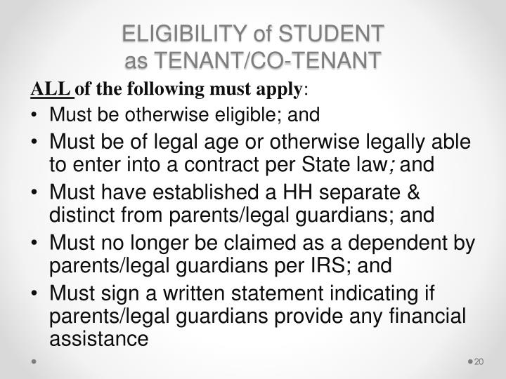 ELIGIBILITY of STUDENT