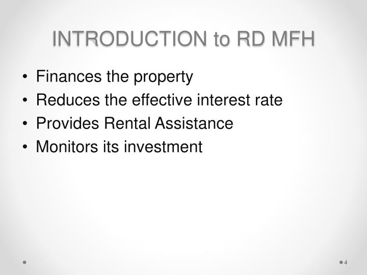 INTRODUCTION to RD MFH