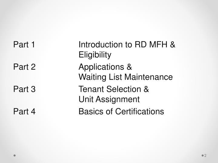 Part 1Introduction to RD MFH & Eligibility