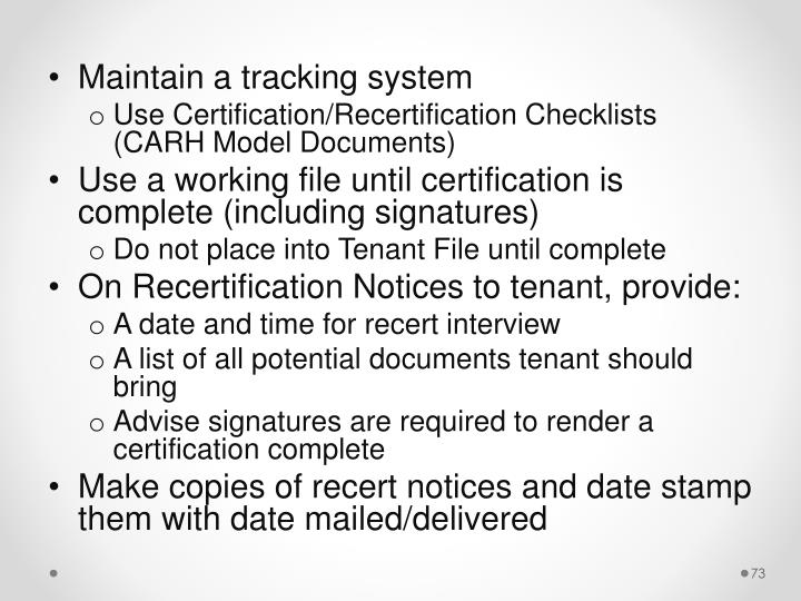 Maintain a tracking system