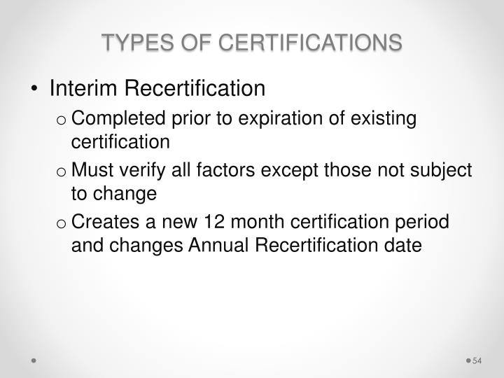 TYPES OF CERTIFICATIONS