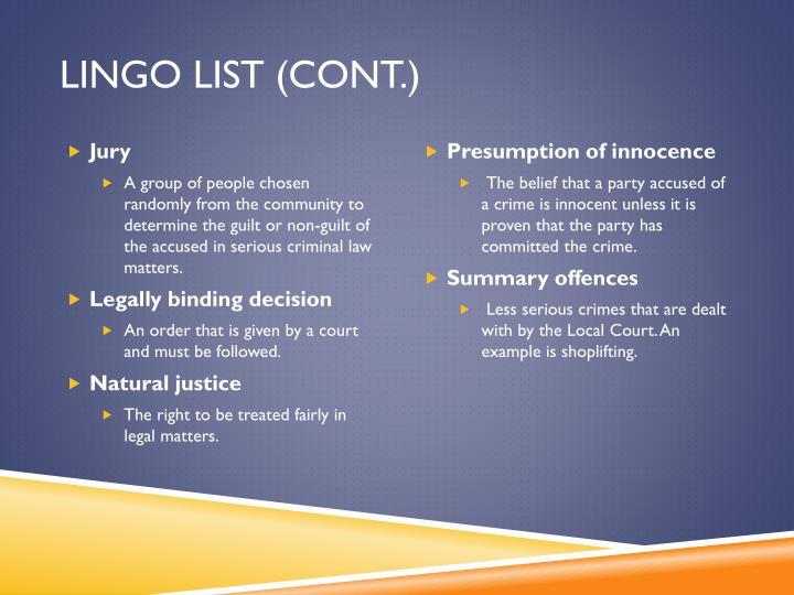 Lingo list (cont.)