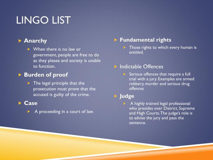 Lingo List