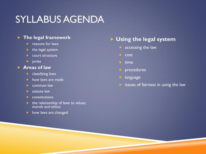 Syllabus Agenda