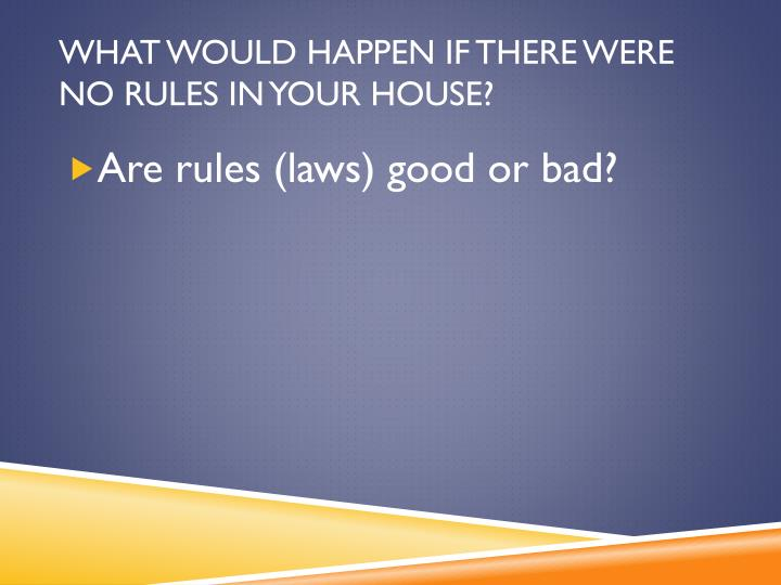 What would happen if there were no rules in your house?