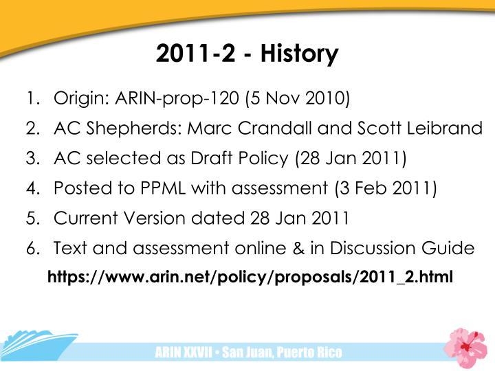 2011-2 - History