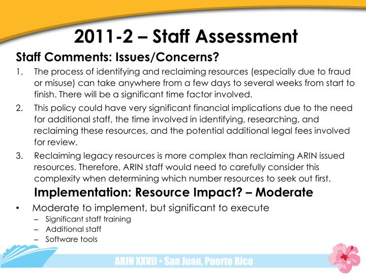2011-2 – Staff Assessment