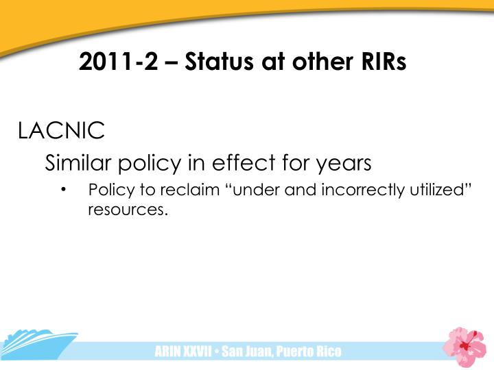 2011-2 – Status at other RIRs