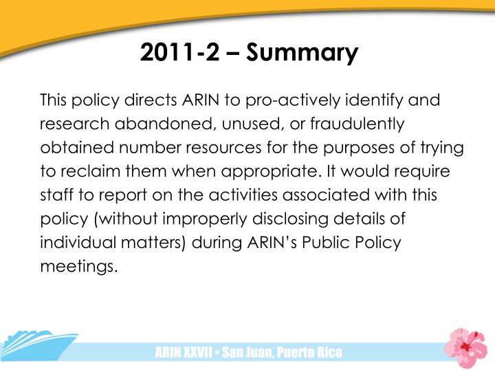 2011-2 – Summary