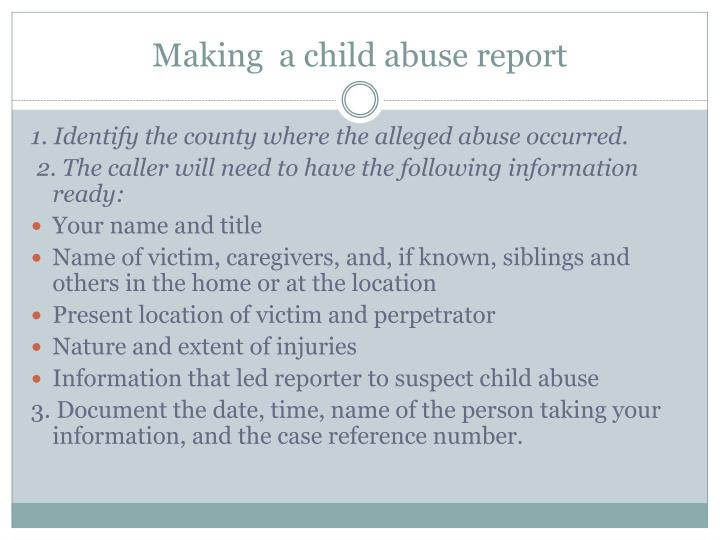 Making  a child abuse report