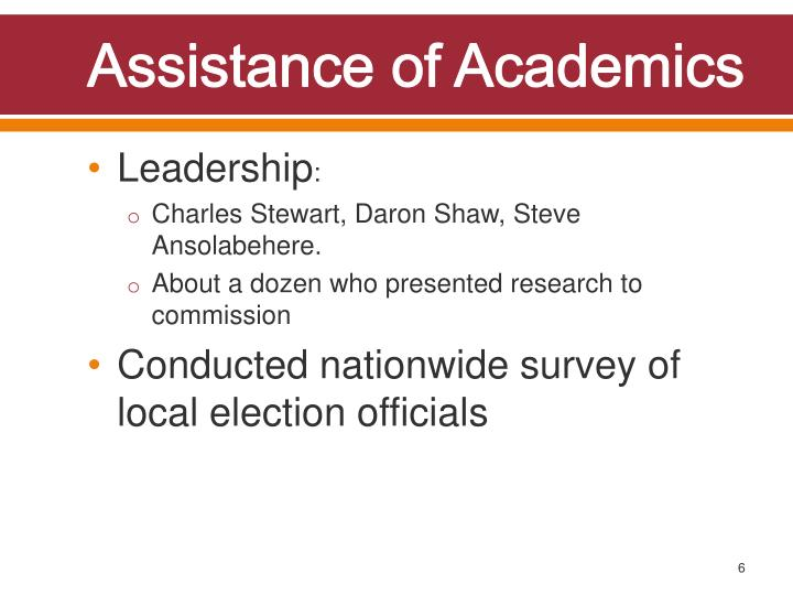 Assistance of Academics