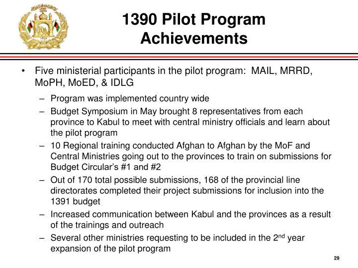 1390 Pilot Program