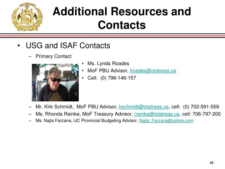 Additional Resources and Contacts