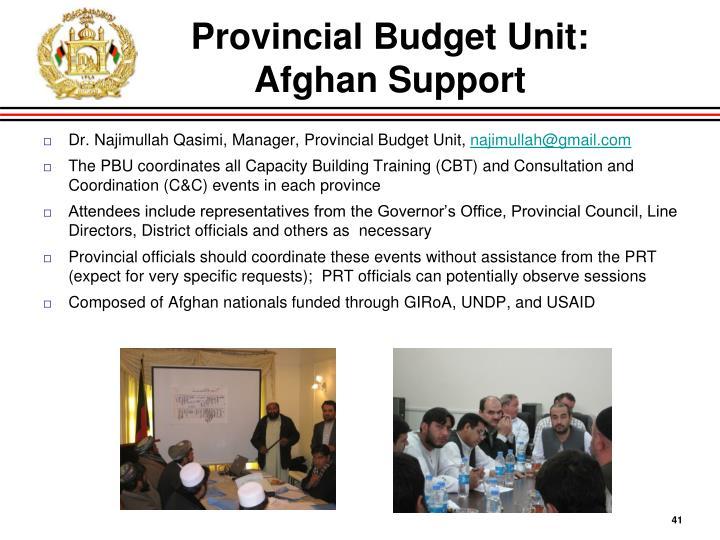 Provincial Budget Unit:
