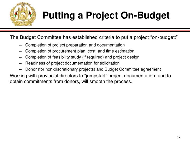 Putting a Project On-Budget