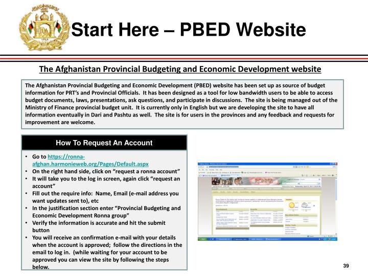 Start Here – PBED Website
