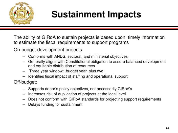 Sustainment Impacts