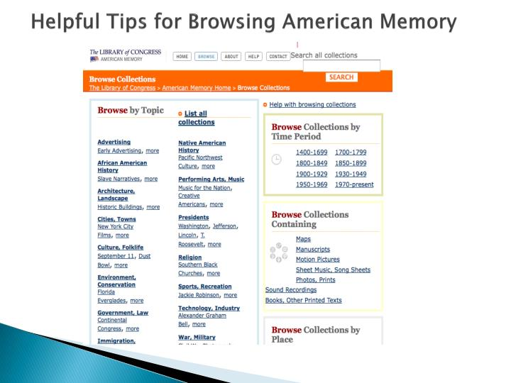 Helpful Tips for Browsing American Memory