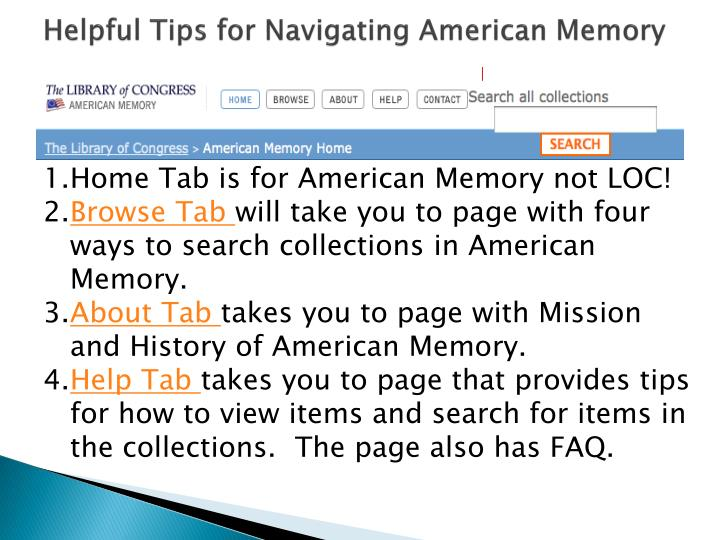 Helpful Tips for Navigating American Memory
