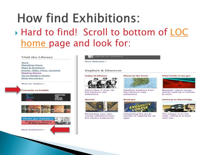 How find Exhibitions: