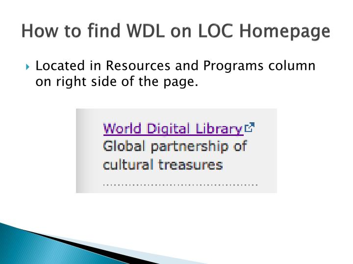 How to find WDL on LOC Homepage