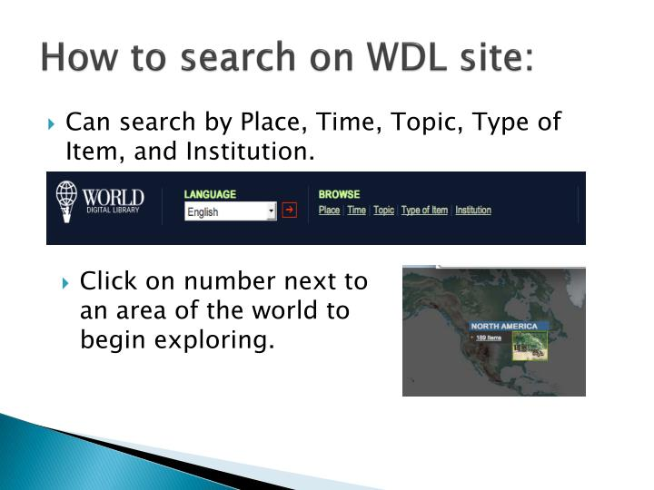 How to search on WDL site: