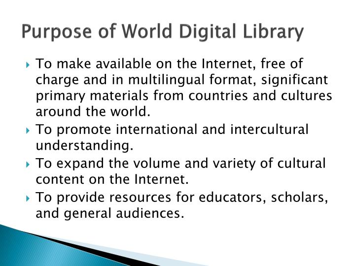 Purpose of World Digital Library