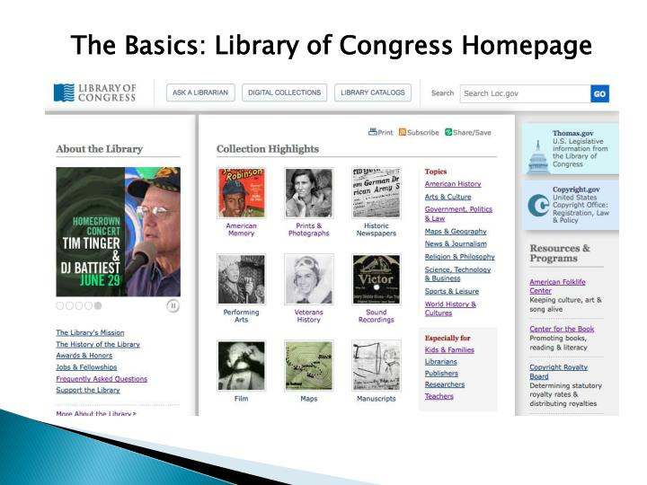 The Basics: Library of Congress Homepage