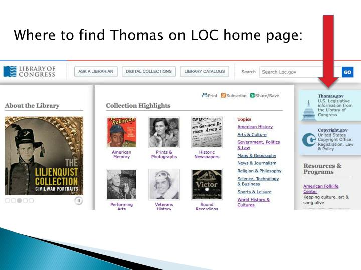 Where to find Thomas on LOC home page:
